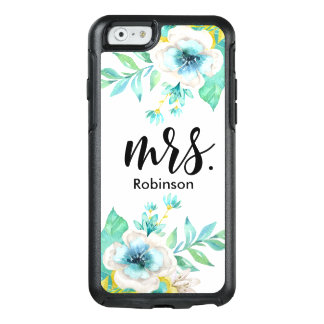 Mrs. Modern Script Mint Gold White Watercolor OtterBox iPhone 6/6s Case