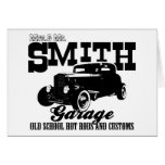 Mrs.& Mr. Smith Hot-Rod Garage Greeting Card