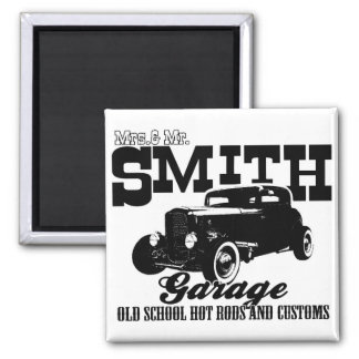 Mrs.& Mr. Smith Hot-Rod Garage Magnet