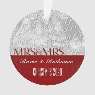 Mrs. & Mrs. | 1st Christmas | Custom Photo Red Ornament