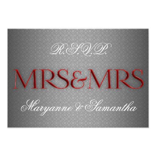Mrs & Mrs Gay Lesbian Wedding RSVP in Silver Custom Invitations