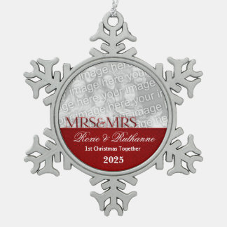 Mrs. & Mrs. Lesbian | 1st Christmas | Red Photo Snowflake Pewter Christmas Ornament