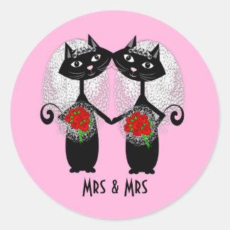 Mrs & Mrs Lesbian Couple Personalized Wedding Classic Round Sticker