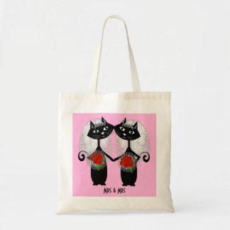 Mrs & Mrs Lesbian Couple Personalized Wedding Tote Bag