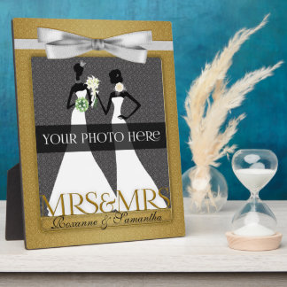 Mrs & Mrs Lesbian Gay Wedding Photo Frame in Gold Photo Plaques