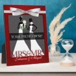 "Mrs &amp; Mrs Lesbian Gay Wedding Photo Frame in Red<br><div class=""desc"">Lovely gift for the lesbian newlyweds. Add a wedding photo and their last name,  or first names if they aren&#39;t taking one name. Done in an elegant deep red print and silver bow. Great gay wedding gift or anniversary gift for the brides.</div>"