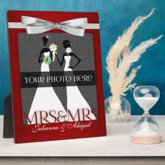 Mrs & Mrs Lesbian Gay Wedding Photo Frame in Red Plaques