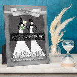 "Mrs &amp; Mrs Lesbian Gay Wedding Photo Frame in Silve<br><div class=""desc"">Lovely gift for the lesbian newlyweds. Add a wedding photo and their last name,  or first names if they aren&#39;t taking one name. Done in an elegant silver print and bow. Great gay wedding gift or anniversary gift for the brides.</div>"