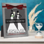 """Mrs &amp; Mrs Lesbian Gay Wedding Photo Frame Silver<br><div class=""""desc"""">Lovely gift for the lesbian newlyweds. Add a wedding photo and their last name,  or first names if they aren&#39;t taking one name. Done in an elegant silver print and deep red bow. Great gay wedding gift or anniversary gift for the brides.</div>"""