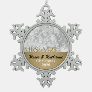 Mrs. & Mrs. Lesbian Marriage Christmas Photo Snowflake Pewter Christmas Ornament