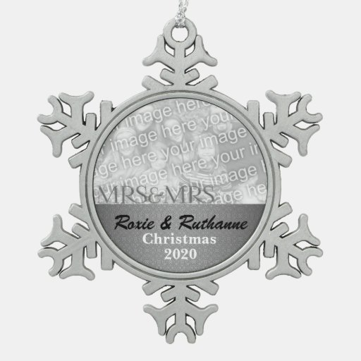 Mrs. & Mrs. Lesbian Marriage Christmas Photo Ornament
