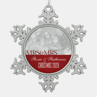 Mrs. & Mrs. Lesbian Marriage Christmas Photo Snowflake Pewter Christmas Ornament