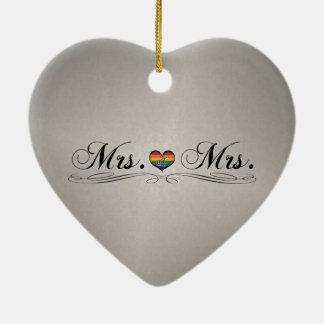 Mrs. & Mrs. Lesbian Pride Double-Sided Heart Ceramic Christmas Ornament