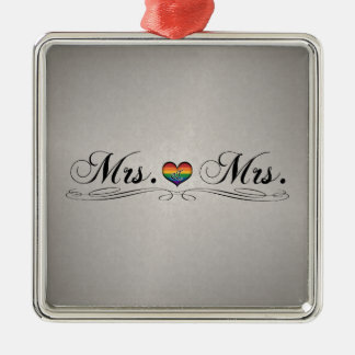 Mrs. & Mrs. Lesbian Pride Square Metal Christmas Ornament