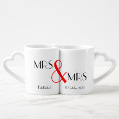 Mrs & Mrs Lesbian Wedding Gift Coffee Mug Set at Zazzle
