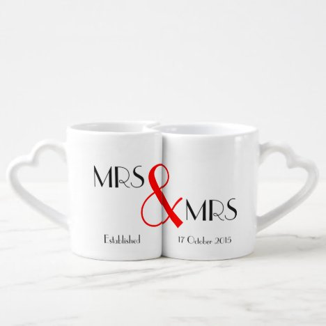 Mrs & Mrs Lesbian Wedding Gift Coffee Mug Set