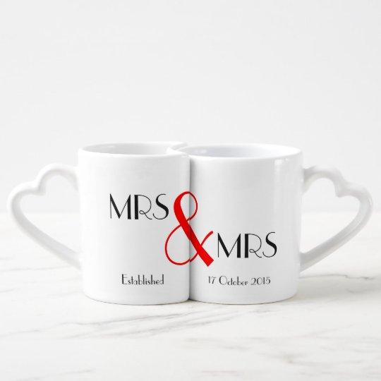 Mrs & Mrs Lesbian Wedding Gift Coffee Mug Setcom