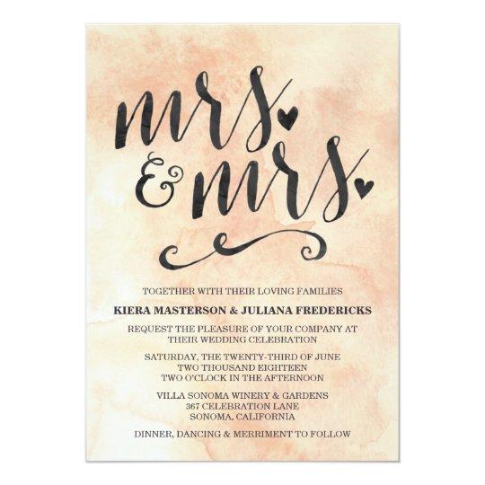 Mrs. & Mrs. Lesbian Wedding Invitation