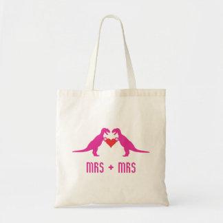 Mrs+Mrs - Love is Love Dinosaurs Tote Bag