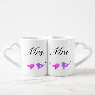MRS & MRS lovebirds Coffee Mug Set