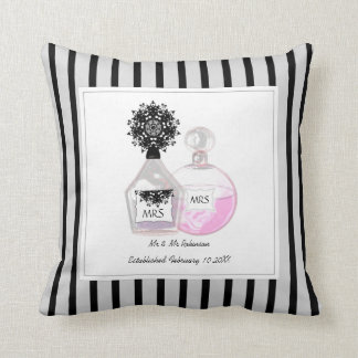 Mrs & Mrs Perfume Bottles Personalized Wedding Throw Pillow