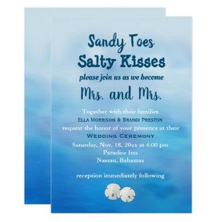 Mrs. & Mrs. Sandy Toes Wedding Invite sand dollars