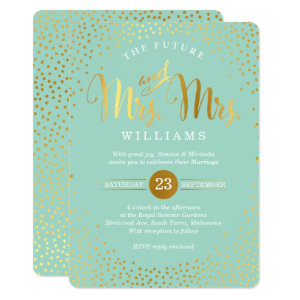 MRS & MRS STYLISH WEDDING gold confetti mint Card