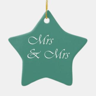Mrs & Mrs Typography Ceramic Ornament