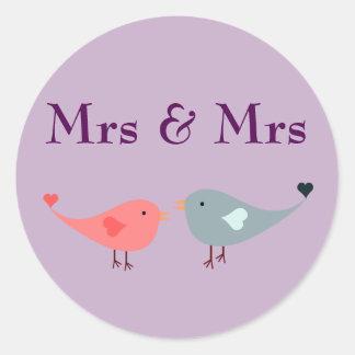 Mrs & Mrs (wedding) Classic Round Sticker
