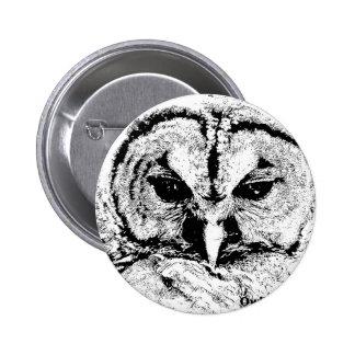 Mrs Owl Mar2015 - Black on White 2 Inch Round Button
