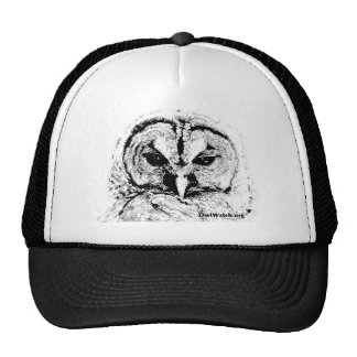 Mrs Owl Mar2015 - Black on White Trucker Hat