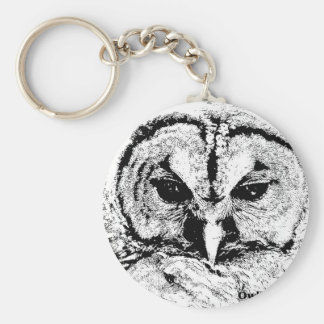 Mrs Owl Mar2015 - Black on White Basic Round Button Keychain