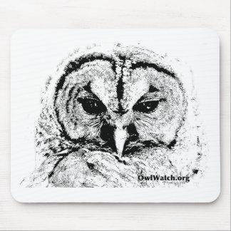 Mrs Owl Mar2015 - Black on White Mouse Pad