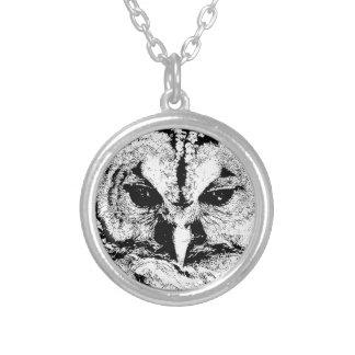 Mrs Owl Mar2015 - Black on White Round Pendant Necklace