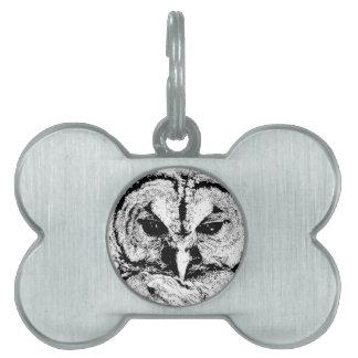 Mrs Owl Mar2015 - Black on White Pet ID Tags