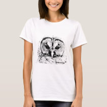 Mrs Owl Mar2015 - Black on White T-Shirt