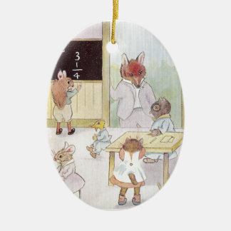Mrs. Owl's School Visited by Fox Vintage Christmas Tree Ornament