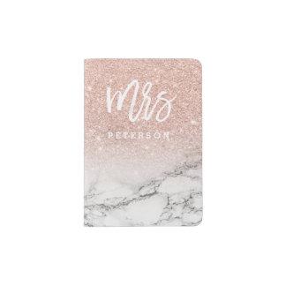 Mrs passport  rose gold glitter white marble passport holder