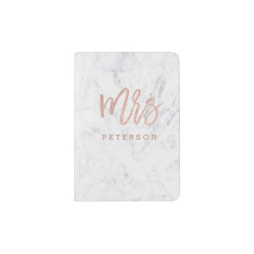 girly_trend Mrs passport rose gold typography white marble passport holder