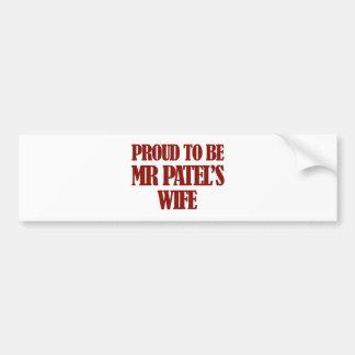Mrs Patel designs Car Bumper Sticker