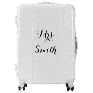 Mrs. Personalized Name Monogram Black And White Luggage