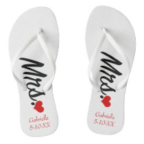 Mrs. Personalized With Name & Date  Flip Flops