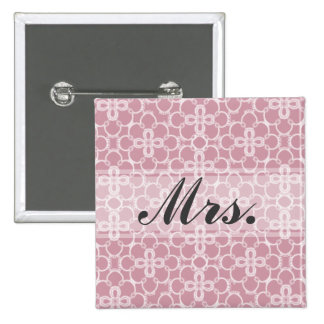 Mrs. Pink Wedding 2 Inch Square Button