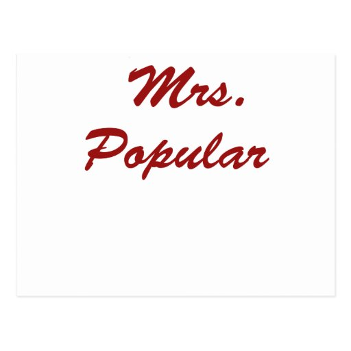 Mrs. Popular Postcard