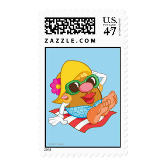 Mrs. Potato Head Sunbathing Postage Stamp