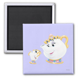 Mrs. Potts and Chip 2 Inch Square Magnet