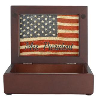 mrs president Vintage Flag.jpg Keepsake Box