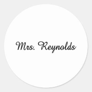 Mrs. Reynolds Classic Round Sticker