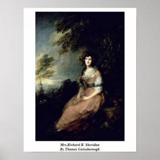 Mrs Richard B Sheridan By Thomas Gainsborough Poster