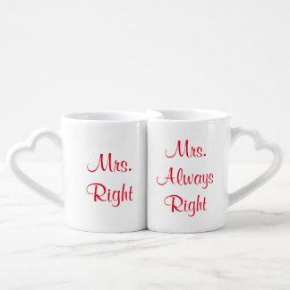 Mrs. Right and Mrs. Always Right Mug Set Couples' Coffee Mug Set